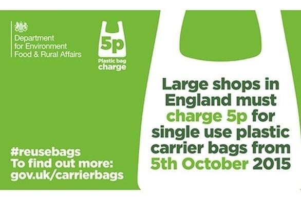 Tassa sui sacchetti plastica monouso in UK